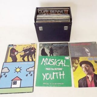 A carry case of LP records 1960's - 1980's