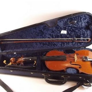 A three quarter size violin by Aubert with Erich Steiner bow