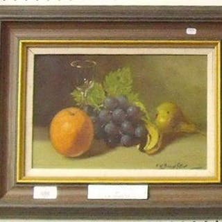 F W Bannister - oil still life fruit and wine glass - 19 x 29cm
