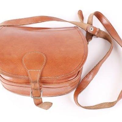 Tan leather cartridge bag
