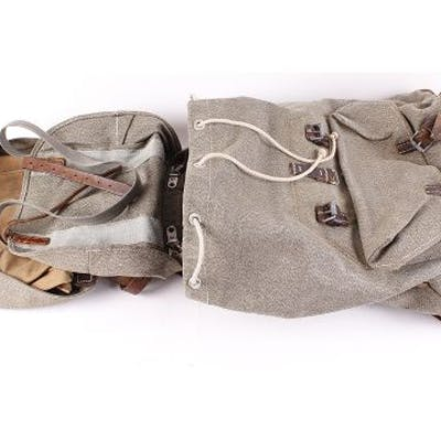 Canvas Swiss Army rucksack by Leisinger 1965, with canvas bag attachment