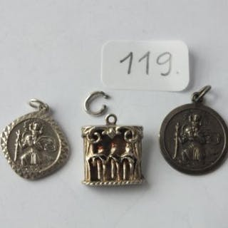 GEORG JENSEN: 2 silver St. Christophers & a silver can-can charm all