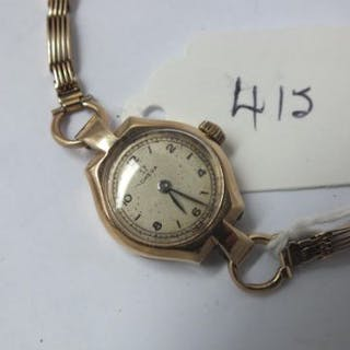 Ladies Omega wrist watch with 9ct gate bracelet strap