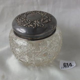 """Embossed top jar with glass body, 3"""" dia. Lon 1901"""