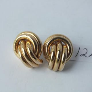 Pair large 9ct knot earrings 5.1g