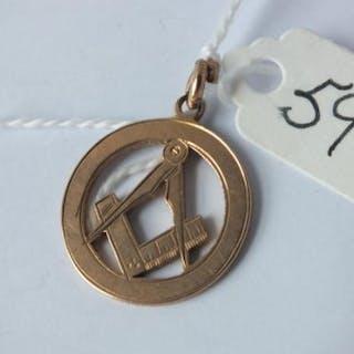9ct Masonic pendant 3.4g