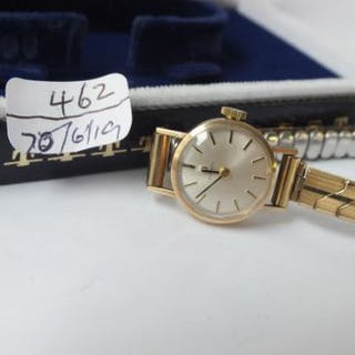 Tissot ladies 9ct mounted wrist watch in box
