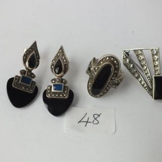 Art Deco stone set silver earrings, brooch and ring