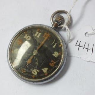 Gents Jeager-Coultre black faced military pocket watch
