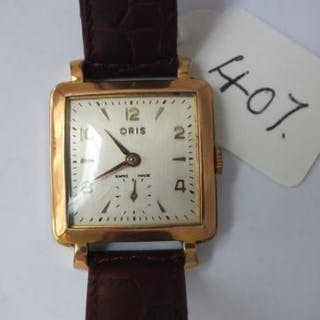 Gents Oris square faced wrist watch with seconds dial