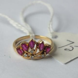 18ct gold ruby & diamond spray ring (size L)