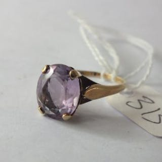 9ct amethyst ring approx size P