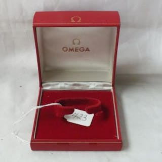 Red Omega wrist watch box