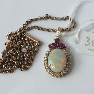 An opal pendant set in 14ct. on a 9ct. chain