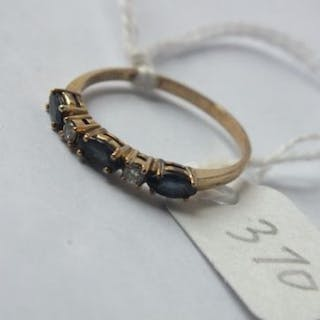 Five stone sapphire and diamond hoop ring set in gold size M