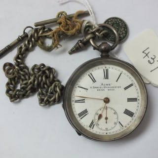 Gents silver pocket watch Acme with seconds dial on metal Albert