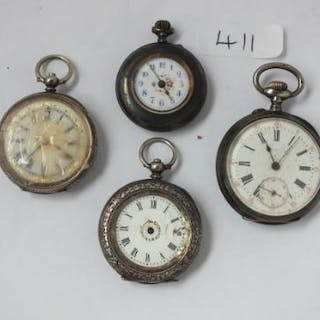 Three silver fob watches (2 A/F) and a gun metal example
