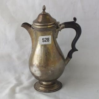 """Plain Chester silver baluster shaped jug, hinged cove r, 9.5"""" high 1910 438g."""