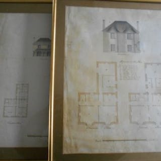 ARCHITECTURE 2 framed, glazed original architectural drawings. early 19th.C