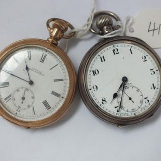 Gents silver pocket watch by Buren and a rolled gold Waltham Pocket watch