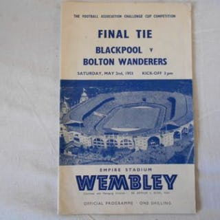 FOOTBALL CUP FINAL PROGRAMME 1953 Blackpool v. Bolton Wanderers