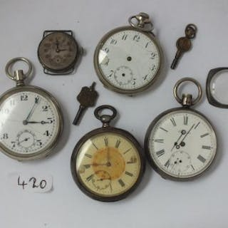 Bag of four silver and other gents pocket watches and a wrist watch