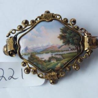 Antique enamelled Swiss brooch A/F