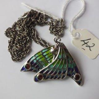 Plique A Jour silver and enamel pendant/brooch set with garnet 4cm