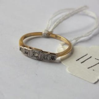 Art Deco 18ct gold & platinum stylish 5 stone diamond ring (size O)