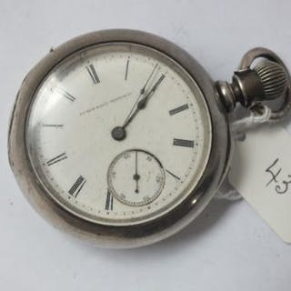 Large Elgin silver cased pocket watch with seconds dial