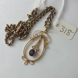 9ct amethyst & pearl pendant on gold belcher link chain 7.5g inc