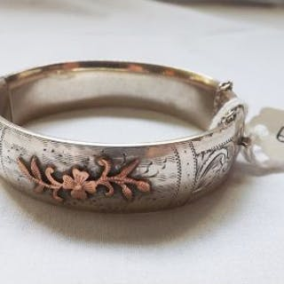 Silver & gold Victorian bangle 32.5g