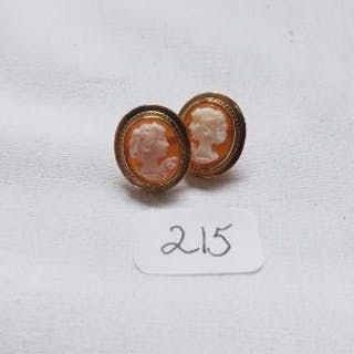 Pair 9ct cameo earrings