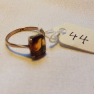 9ct vintage citrine set ring approx size O