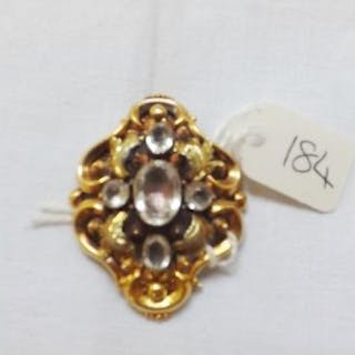 Victorian 15ct gold brooch set with pale blue stones 7.5g inc