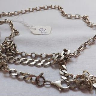 Three silver bracelets and a silver neck chain 63g
