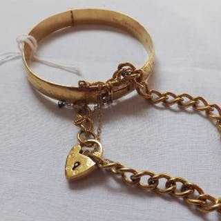 Rolled gold bangle & bracelet