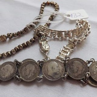 Two silver bracelets and a sixpence coin bracelet