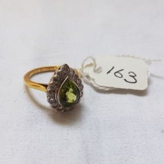 PERIDOT & DIAMOND PEAR SHAPED cluster ring approx size N