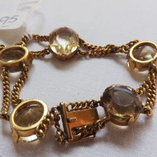 GOLD CHAIN LINK CITRINE SET bracelet set with five large citrines 26g inc