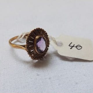 9ct oval fancy amethyst ring approx size M