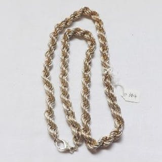 A large silver rope twist mesh chain – 78g