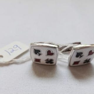 Pair silver and enamel card cufflinks