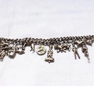 Silver charm bracelet 49g