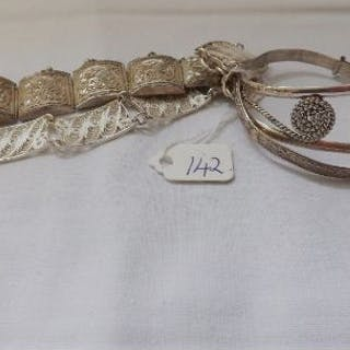 Four silver bracelets 49g