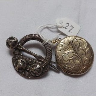 A Celtic style kilt pin – B'ham 1904 and a silver wallet