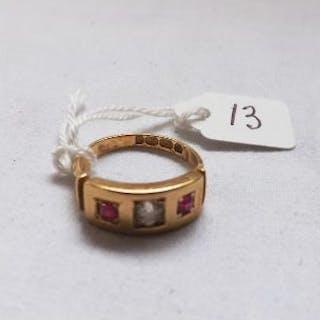 A diamond & ruby ring, gypsy set in 18ct – B'ham 1900