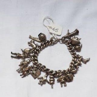 Heavy silver charm bracelet 97.5g