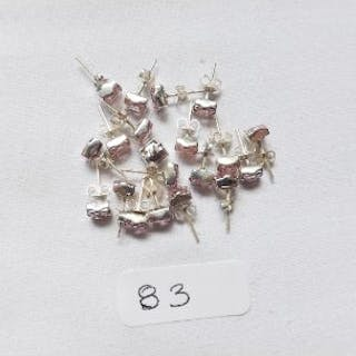 10 pairs of pink stone silver ear studs