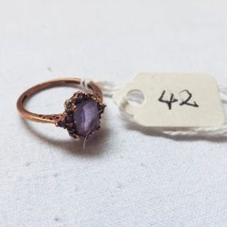 9ct fancy amethyst ring approx size M